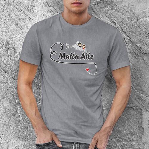 Mutlu Aile Temalı Erkek Tişört - Tekli Kombin