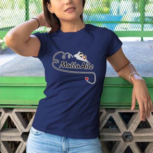Tisho - Mutlu Aile Temalı Kadın Tişört - Tekli Kombin