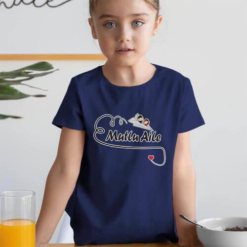 Tisho - Mutlu Aile Temalı Kız Çocuk Tişört - Tekli Kombin
