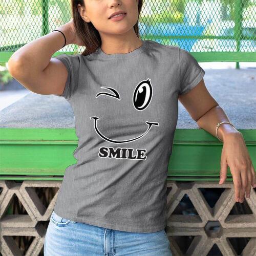 Mutlu Kadın Tişört - Tekli Kombin - Thumbnail