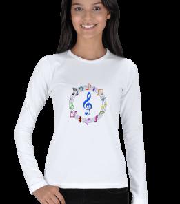 ky T-Shirt - Müzik iconlu kadın sweat Kadın Uzun Kol