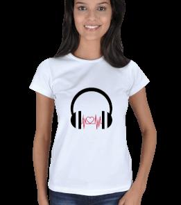 MAZZA - müzik, kalp, kulaklık Kadın Tişört