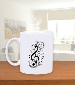 Düşsel Tasarım - Müzik Tutkunu Beyaz Kupa Bardak