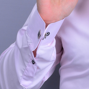 Nakış Harf İşlemeli Erkek Slimfit Pembe Gömlek - Thumbnail