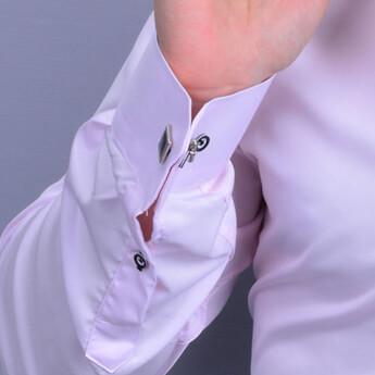 Nakış Harf İşlemeli Erkek Slimfit Pembe Gömlek