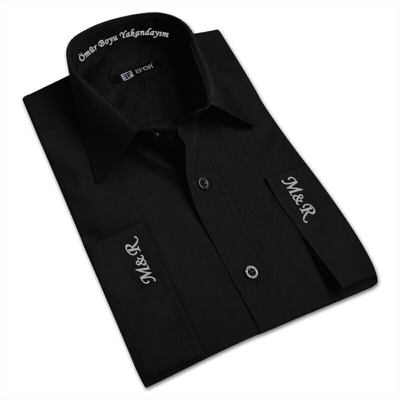 Tisho - Nakış İşlemeli Erkek Siyah Gömlek