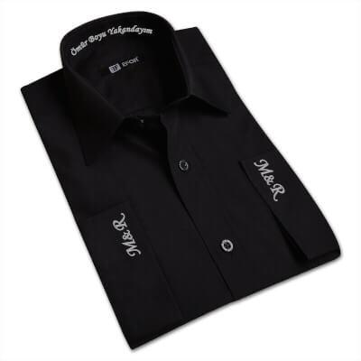 Nakış İşlemeli Erkek Siyah Gömlek
