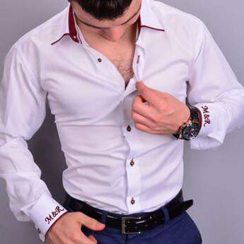 Nakış İşlemeli Kişiye Özel Erkek Slim Fit Gömlek