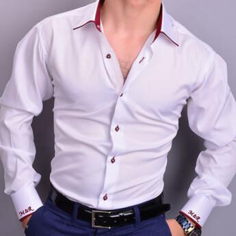 Nakış İşlemeli Kişiye Özel Erkek Slim Fit Gömlek - Thumbnail