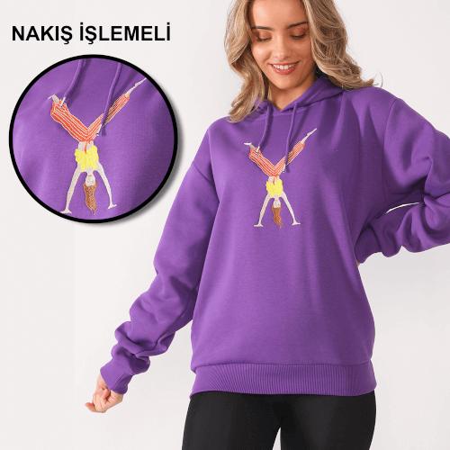 Tisho - Sporcu Kadın Desenli Nakış İşlemeli Mor Kadın Kapüşonlu Sweatshirt