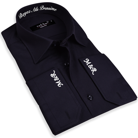 Tisho - Nakış İşlemeli Slim Fit Erkek Siyah Gömlek