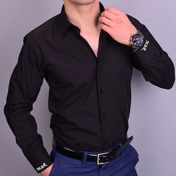 Nakış İşlemeli Slim Fit Erkek Siyah Gömlek