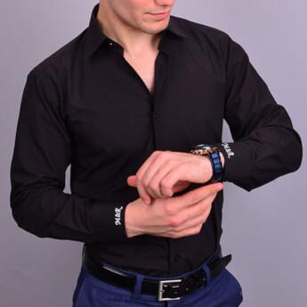 Nakış İşlemeli Slim Fit Erkek Siyah Gömlek - Thumbnail