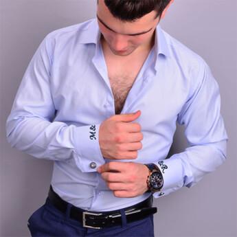 Nakış İşlemeli Slimfit Erkek Mavi Gömlek - Thumbnail