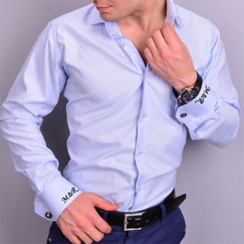 Nakış İşlemeli Slimfit Erkek Mavi Gömlek