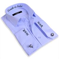 Tisho - Nakış İşlemeli Slimfit Erkek Mavi Gömlek