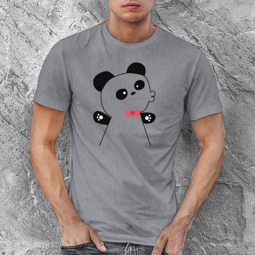 Panda Erkek Kısa Kol Tişört - Tekli Kombin - Thumbnail