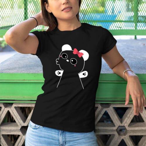 Tisho - Panda Kadın Kısa Kol Tişört - Tekli Kombin