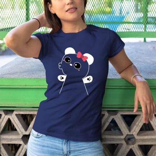 Panda Kadın Kısa Kol Tişört - Tekli Kombin - Thumbnail