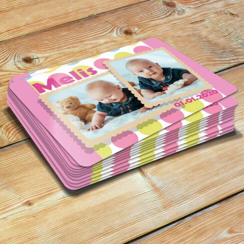 Tisho - Pembe 2 Fotoğraflı Kız Çocuk Doğum Günü Magneti