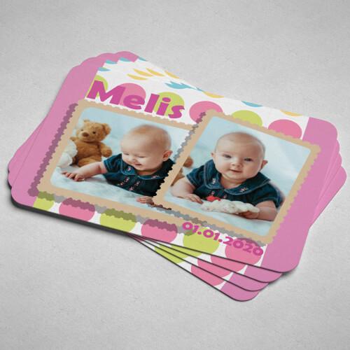 Pembe 2 Fotoğraflı Kız Çocuk Doğum Günü Magneti