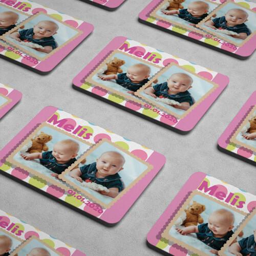 Pembe 2 Fotoğraflı Kız Çocuk Doğum Günü Magneti - Thumbnail