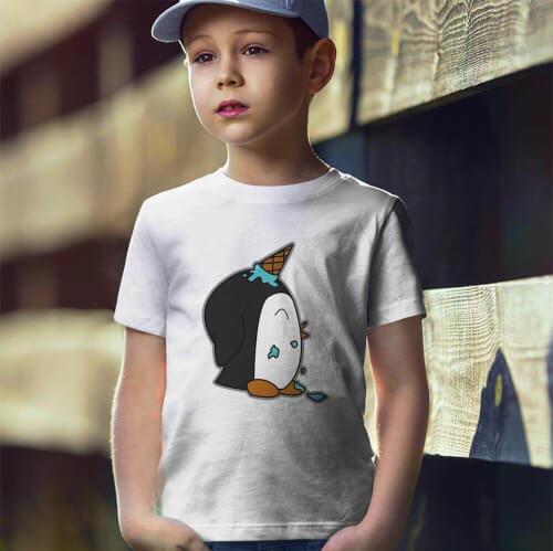 Tisho - Penguen Baskılı Erkek Çocuk Tişört - Tekli Kombin