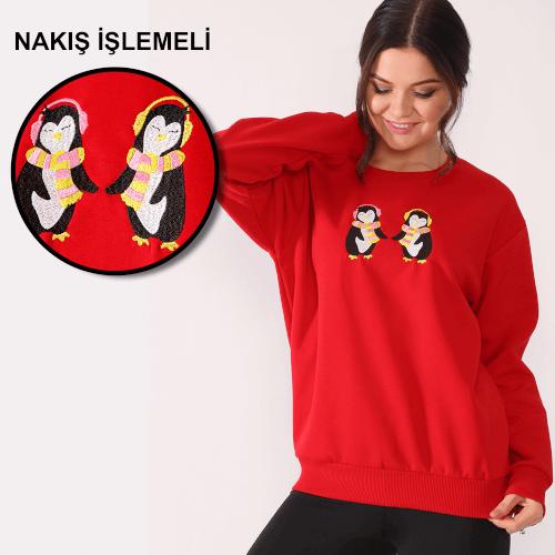 Tisho Kombin Ürünleri - Penguenler Nakış İşlemeli Kırmızı Kadın Sweatshirt