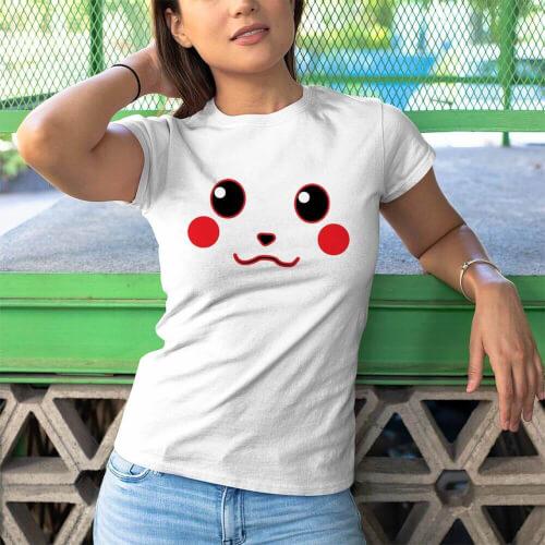 Tisho - Pikachu Kadın Kısa Kol Tişört - Tekli Kombin