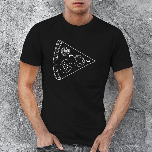 Pizza Baskılı Erkek Kısa Kol Tişört - Tekli Kombin - Thumbnail