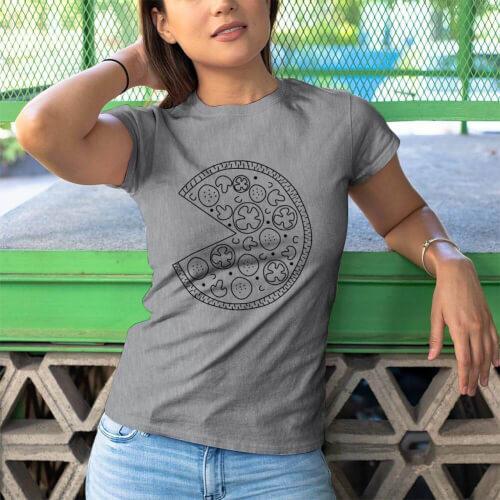 Pizza Baskılı Kadın Kısa Kol Tişört - Tekli Kombin - Thumbnail