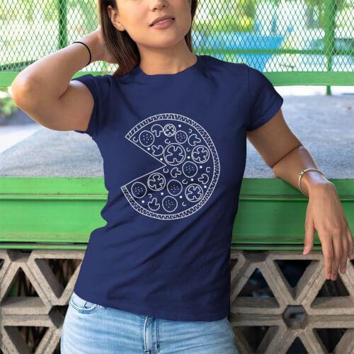 Pizza Baskılı Kadın Kısa Kol Tişört - Tekli Kombin