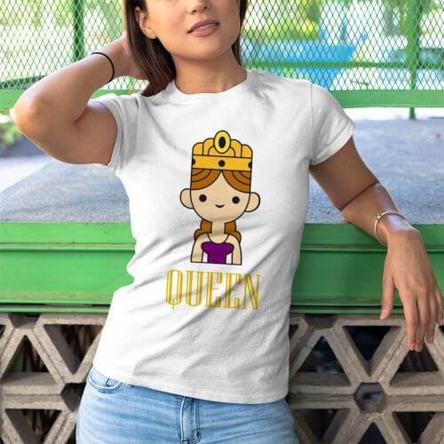 Queen Kadın Kısa Kol Tişört - Tekli Kombin
