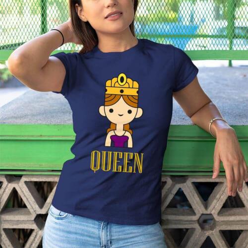 Queen Kadın Kısa Kol Tişört - Tekli Kombin - Thumbnail