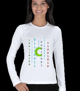 E.Ç. TASARIM - Renkli Binary Kod ve C dili Kadın Uzun Kol