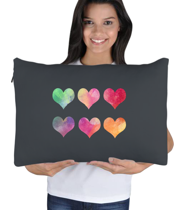 MeizDesign - Renkli kalpli yastık Uyku Yastık Kılıfı