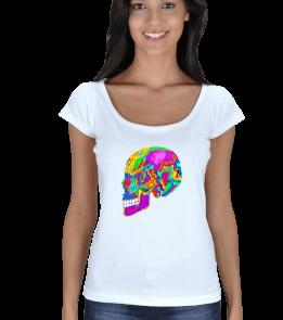 CÇ Design by Cem Çetin - Renkli Kurukafa beyaz 2 Kadın Açık Yaka