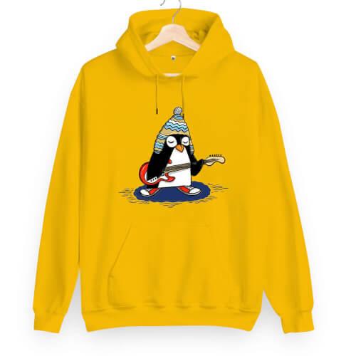 Tisho - Rock Penguen Unisex Kapüşonlu Sweatshirt