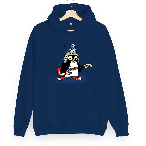 Tisho - Rock Penguen Unisex Kapüşonlu Sweatshirt (1)