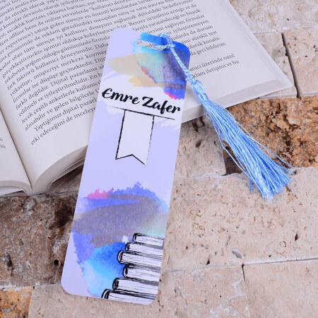 - Sade Tasarımlı Mavi Kitap Ayracı