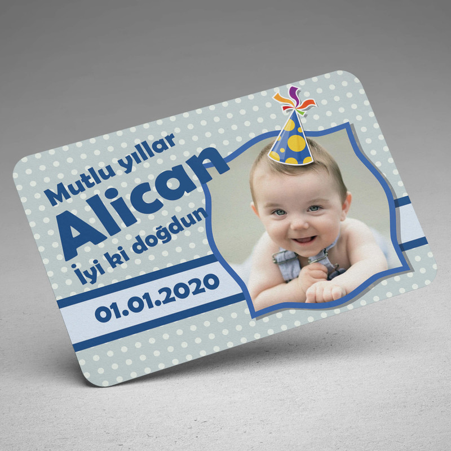 Şapka Tasarımlı Erkek Bebek Doğum Günü Magneti - Thumbnail