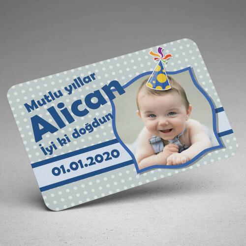 Şapka Tasarımlı Erkek Bebek Doğum Günü Magneti