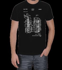 MinimalArt - saxaphone patent Erkek Tişört