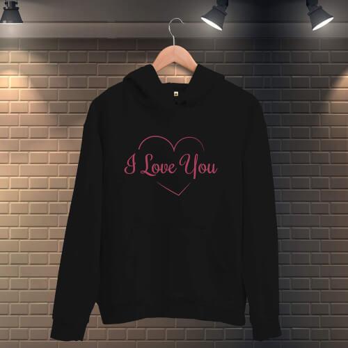 Tisho - Seni Seviyorum Kalpli Kadın Kapüşonlu Sweatshirt