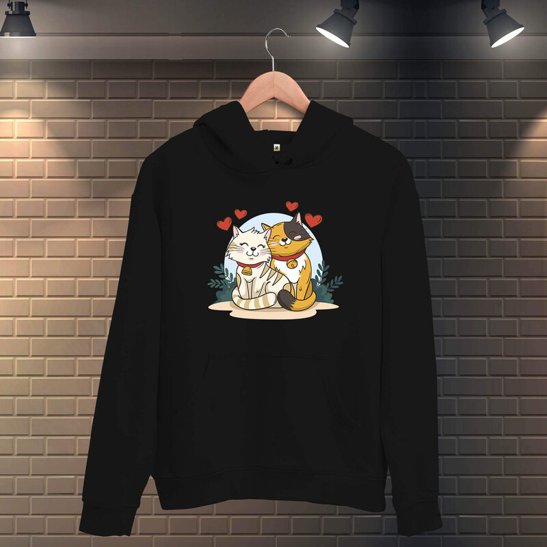 Tisho - Sevgili Kediler Kadın Kapüşonlu Sweatshirt
