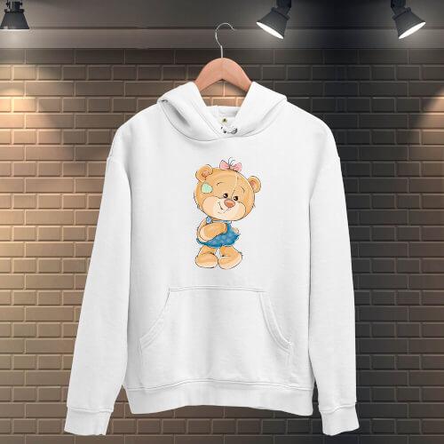 Tisho - Sevgililer Günü Sevimli Ayı Baskılı KadınKapüşonlu Sweatshirt