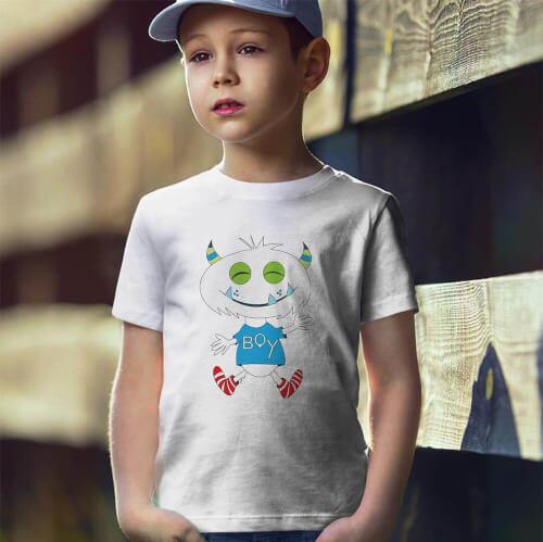 Tisho - Sevimli Canavar Erkek Çocuk Tişört - Tekli Kombin