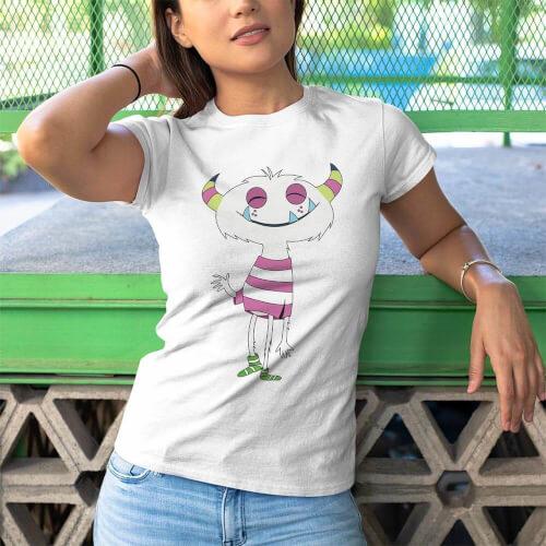 Tisho - Sevimli Canavar Kadın Tişört - Tekli Kombin