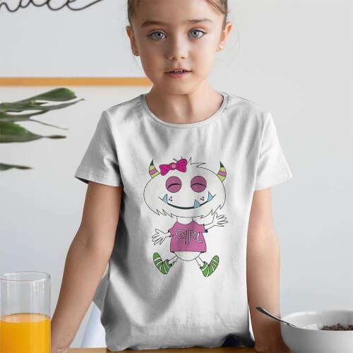 - Sevimli Canavar Kız Çocuk Tişört - Tekli Kombin