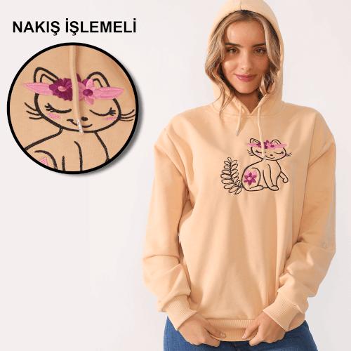 Tisho - Sevimli Kedi Desenli Nakış İşlemeli Krem Kadın Kapüşonlu Sweatshirt